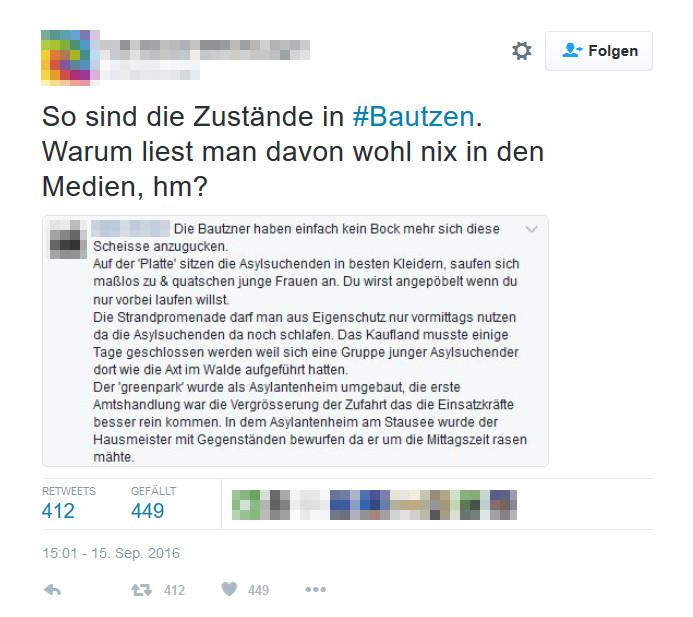 Tweet mit Facebook-Screenhot mit Behauptungen zu Bautzener Asylbewerbern